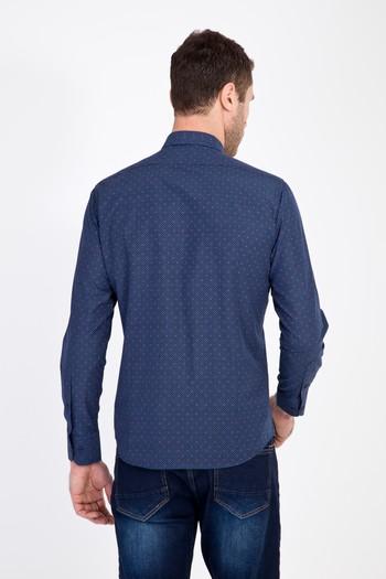 Erkek Giyim - Uzun Kol Slim Fit Baskılı Gömlek