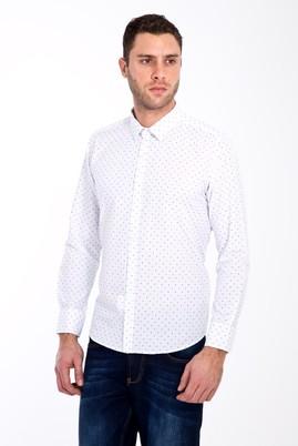 Erkek Giyim - BEYAZ XL Beden Uzun Kol Slim Fit Baskılı Gömlek