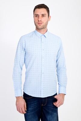 Erkek Giyim - AÇIK MAVİ XS Beden Uzun Kol Slim Fit Baskılı Gömlek