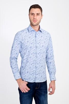 Erkek Giyim - LACİVERT XL Beden Uzun Kol Slim Fit Baskılı Gömlek