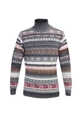 Erkek Giyim - ORTA FÜME L Beden Balıkçı Yaka Tasarım Triko Kazak