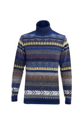 Erkek Giyim - LACİVERT M Beden Balıkçı Yaka Tasarım Triko Kazak