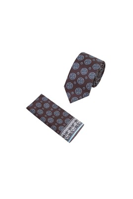 Erkek Giyim - KAHVE 65 Beden 2'li Kravat Mendil Set