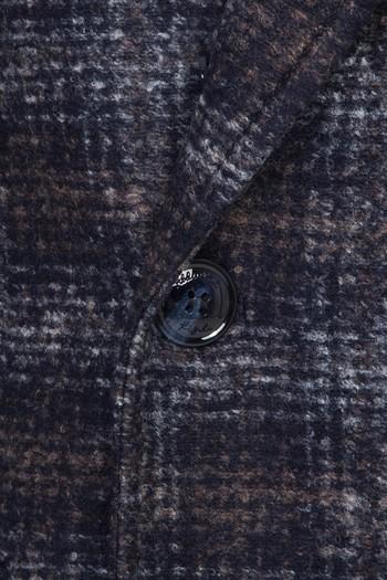 Erkek Giyim - Ekose Yünlü Palto