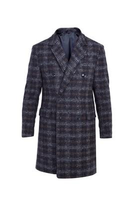 Erkek Giyim - ORTA LACİVERT 48 Beden Ekose Yünlü Palto