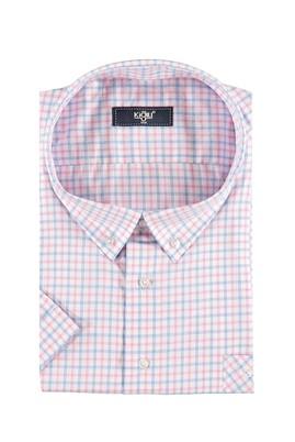 Erkek Giyim - Pembe 6X Beden King Size Kısa Kol Ekose Klasik Gömlek