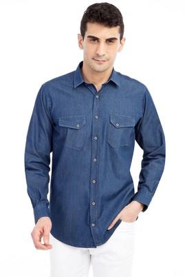 Erkek Giyim - Lacivert L Beden Uzun Kol Denim Gömlek