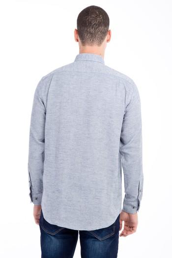 Erkek Giyim - Uzun Kol Regular Fit Desenli Oduncu Gömlek