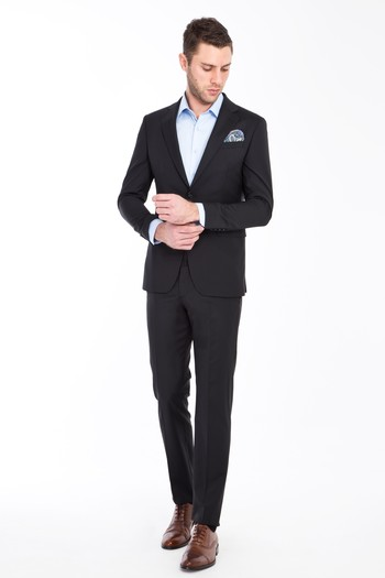 Erkek Giyim - Regular Fit Yünlü Takım Elbise