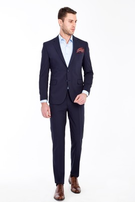 Erkek Giyim - LACİVERT 50 Beden Slim Fit Takım Elbise