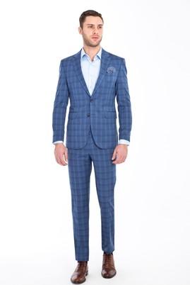 Erkek Giyim - MAVİ 50 Beden Slim Fit Ekose Takım Elbise