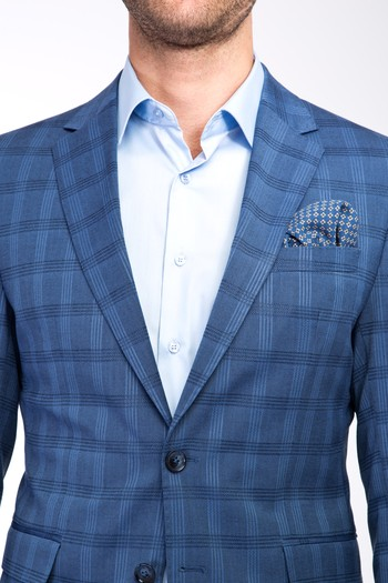 Erkek Giyim - Slim Fit Ekose Takım Elbise