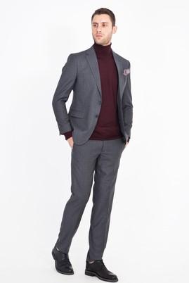 Erkek Giyim - FÜME GRİ 48 Beden Slim Fit Desenli Takım Elbise