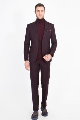 Erkek Giyim - BORDO 46 Beden Slim Fit Kuşgözü Takım Elbise