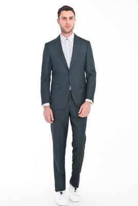 Erkek Giyim - KOYU YESİL 48 Beden Kuşgözü Takım Elbise