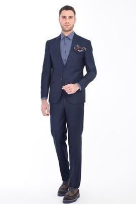 Erkek Giyim - LACİVERT 46 Beden Slim Fit Kuşgözü Takım Elbise