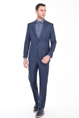 Erkek Giyim - LACİVERT 50 Beden Yünlü Kuşgözü Takım Elbise
