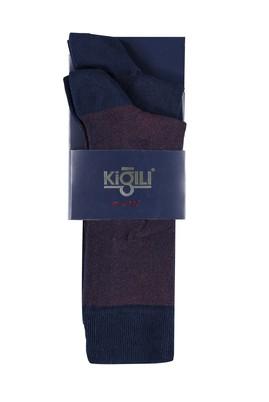 Erkek Giyim - LACİVERT 42 Beden 2'li Desenli Çorap