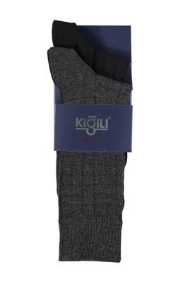 Erkek Giyim - FÜME GRİ 42 Beden 2'li Desenli Çorap