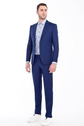 Erkek Giyim - LACİVERT 46 Beden Slim Fit Desenli Takım Elbise