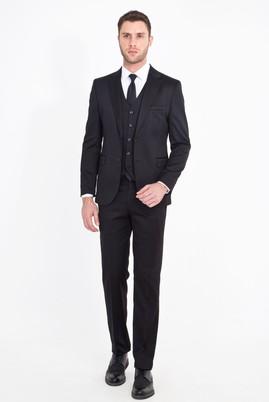 Erkek Giyim - SİYAH 50 Beden Slim Fit Yelekli Takım Elbise