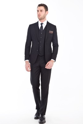 Erkek Giyim - SİYAH 54 Beden Slim Fit Yelekli Desenli Takım Elbise