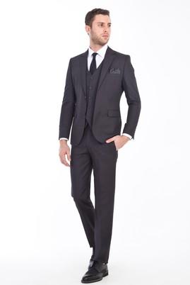 Erkek Giyim - ANTRASİT 54 Beden Slim Fit Yelekli Desenli Takım Elbise