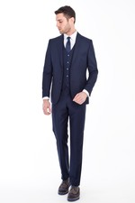 Erkek Giyim - Slim Fit Yelekli Takım Elbise