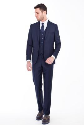 Erkek Giyim - LACİVERT 48 Beden Slim Fit Yelekli Takım Elbise