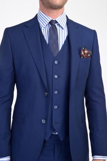 Erkek Giyim - Slim Fit Yelekli Takım Elbise