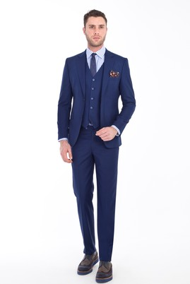 Erkek Giyim - LACİVERT 46 Beden Slim Fit Yelekli Takım Elbise