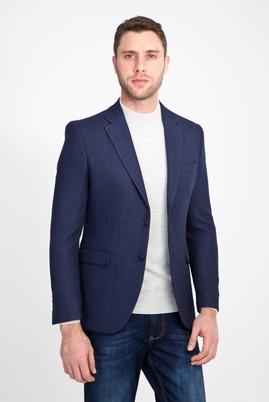 Erkek Giyim - LACİVERT 48 Beden Slim Fit Desenli Ceket