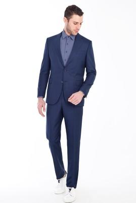 Erkek Giyim - KOYU MAVİ 50 Beden Kareli Takım Elbise