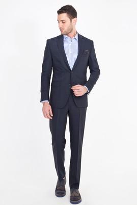 Erkek Giyim - LACİVERT 48 Beden Kareli Yünlü Takım Elbise
