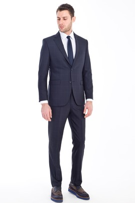 Erkek Giyim - LACİVERT 46 Beden Slim Fit Kareli Yünlü Takım Elbise