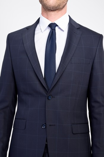 Erkek Giyim - Slim Fit Kareli Yünlü Takım Elbise