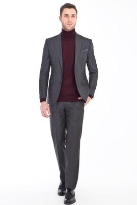 Erkek Giyim - FÜME GRİ 48 Beden Slim Fit Ekose Takım Elbise