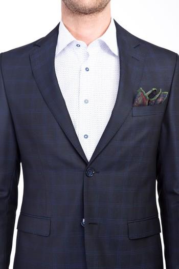 Erkek Giyim - Slim Fit Ekose Yünlü Takım Elbise
