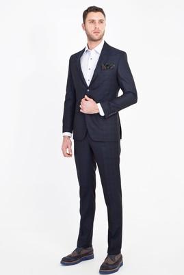Erkek Giyim - LACİVERT 50 Beden Slim Fit Ekose Yünlü Takım Elbise