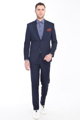 Erkek Giyim - LACİVERT 48 Beden Slim Fit Takım Elbise