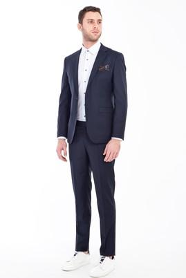 Erkek Giyim - LACİVERT 48 Beden Süper Slim Fit Yünlü Takım Elbise