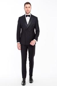Erkek Giyim - Slim Fit Kruvaze Smokin / Damatlık