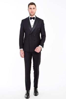 Erkek Giyim - SİYAH 48 Beden Slim Fit Kruvaze Smokin / Damatlık