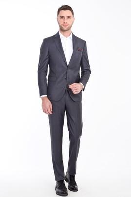 Erkek Giyim - ORTA FÜME 48 Beden Slim Fit Desenli Takım Elbise