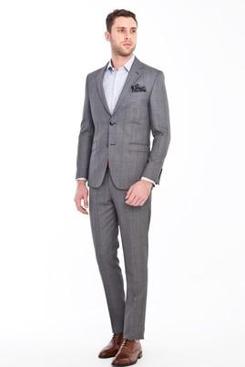 Erkek Giyim - ORTA FÜME 48 Beden Kareli Yünlü Takım Elbise