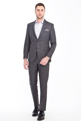 Erkek Giyim - FÜME GRİ 50 Beden Slim Fit Kareli Yünlü Takım Elbise