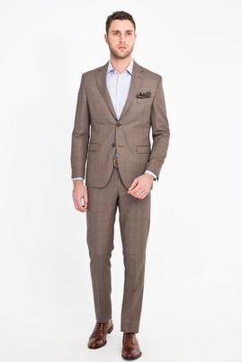 Erkek Giyim - AÇIK KAHVE - CAMEL 46 Beden Slim Fit Kareli Yünlü Takım Elbise
