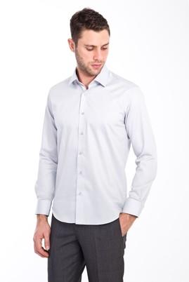 Erkek Giyim - AÇIK GRİ S Beden Uzun Kol Non Iron Saten Slim Fit Gömlek
