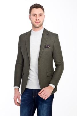Erkek Giyim - HAKİ 46 Beden Slim Fit Desenli Ceket