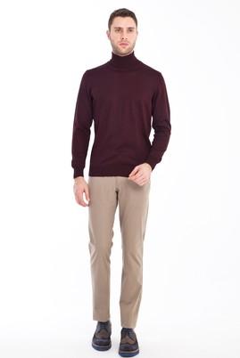 Erkek Giyim - BEJ 50 Beden Slim Fit Spor Desenli Pantolon